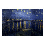 Vincent van Gogh - Sterrige Nacht over de Rhône Poster