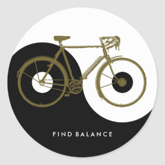 VIND EVENWICHT/yin yang fiets Ronde Sticker
