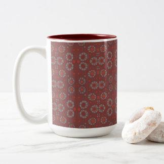Vind het Konijn, het rustieke patroon, grijs & het Tweekleurige Koffiemok