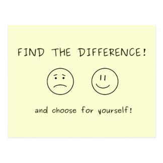 Vind het verschil en kies voor zich briefkaart