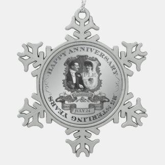 Vintage 25ste Jubileum ID195 Tin Sneeuwvlok Ornament