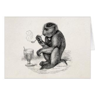 Vintage Aap die een Dier van de Apen van de Pijp Kaart