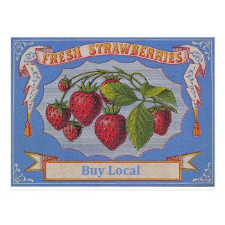 vintage aardbeien briefkaart