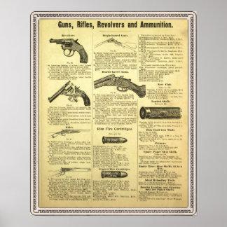 Vintage advertentiepistolen, geweren, revolvers en poster