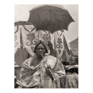 Vintage Afrika, Leider, bediende en zonnescherm Briefkaart