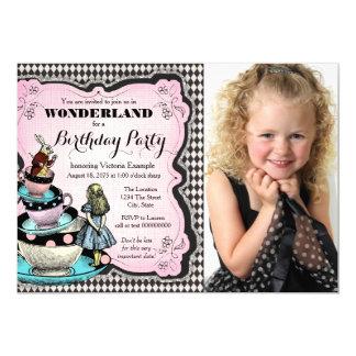 Vintage Alice in de Partij van de Verjaardag van 12,7x17,8 Uitnodiging Kaart