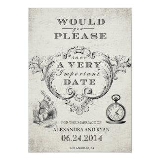 Vintage Alice in Sprookjesland bewaart de Datum 12,7x17,8 Uitnodiging Kaart