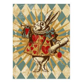 Vintage Alice White Rabbit Briefkaart