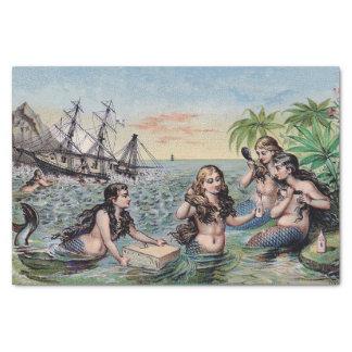 Vintage Antiek Magische Zeevaart van de meermin Tissuepapier