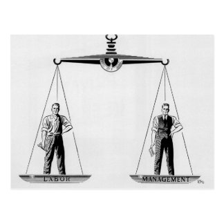 Vintage Arbeid versus Beheer, Schalen van Briefkaart