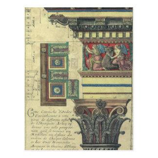 Vintage Architectuur, Kolom met het Afgietsel van Briefkaart