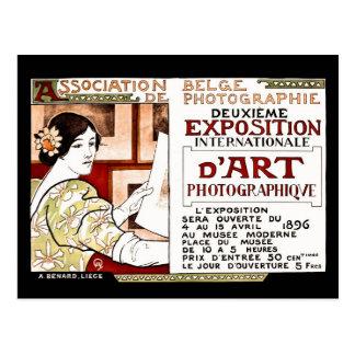 Vintage art. van 1896 Jugendstil het Belgische Briefkaart