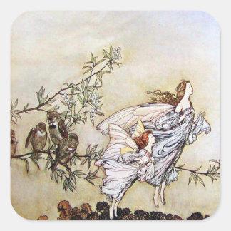 Vintage Arthur Rackham Fairies Square Sticker