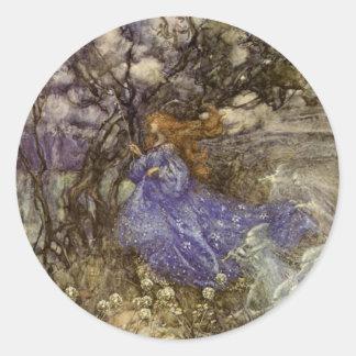 Vintage Arthur Rackham Fairy Round Sticker