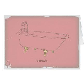 Vintage Badkuip - roze Kaart
