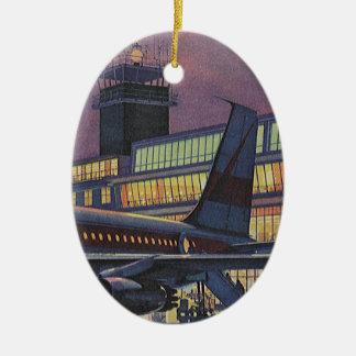 Vintage BedrijfsPassagiers op Vliegtuig bij Keramisch Ovaal Ornament