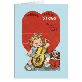 """Vintage """"bind me langs"""" Valentijn vast Wenskaart"""