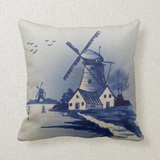 Vintage Blauw en Wit Delft Sierkussen