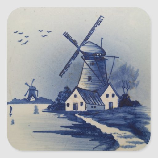 Vintage Blauw en Wit Delft Vierkant Stickers
