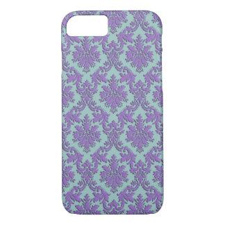Vintage Blauwe en Paarse iPhone 7 van het Damast iPhone 7 Hoesje
