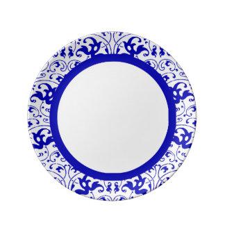 Vintage Blauwe en Witte Werveling Porselein Bord