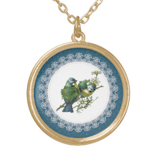Vintage Blauwe Vogels Goud Vergulden Ketting