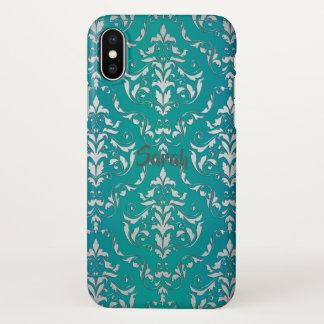 Vintage Blauwgroen Damast Gepersonaliseerde iPhone