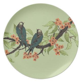 Vintage Blauwgroen Vogels op de Bloesem van de Bord