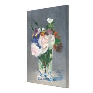 Vintage Bloemen in een Vaas van het Kristal door Canvas Afdrukken