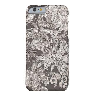 Vintage Bloemen Modern Ivoor & Grijze Botanische Barely There iPhone 6 Hoesje