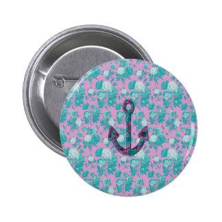 Vintage Bloemen Roze en Blauw Anker Ronde Button 5,7 Cm