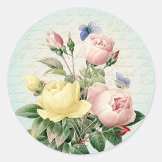 Vintage bloemen van rozen girly en vrouwelijke ronde sticker
