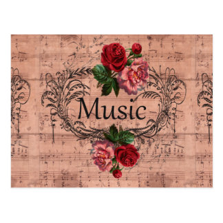 Vintage Bloemen voor liefde van Muziek Briefkaart