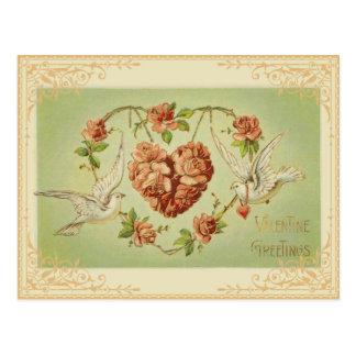 Vintage BloemenHart en het Briefkaart van Duiven