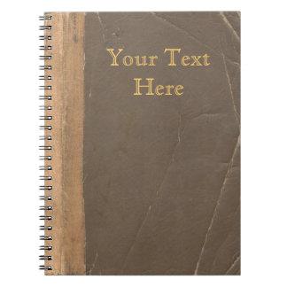 Vintage boekdekking, retro verbindend fauxleer notitieboek