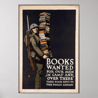 Vintage Boeken Gewild Poster