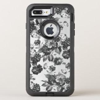 Vintage Boheemse modieuze zwarte witte rozen OtterBox Defender iPhone 8 Plus / 7 Plus Hoesje