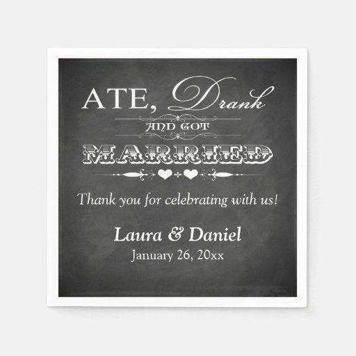 Vintage bord servetten van het huwelijk papieren