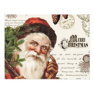 vintage bosKerstman Briefkaart