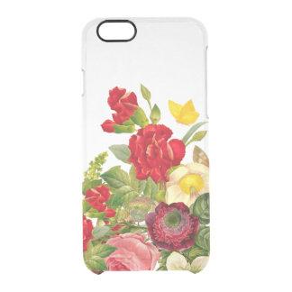 Vintage Botanische Bloemen nam Duidelijk toe Doorzichtig iPhone 6/6S Hoesje