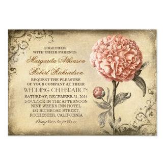 vintage botanische bloemen - roze pioenhuwelijk 12,7x17,8 uitnodiging kaart