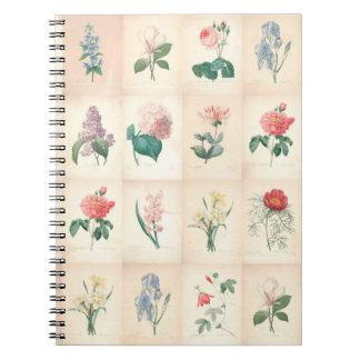 Vintage Botanische Waterverf door Redoute Notebook Notitieboek