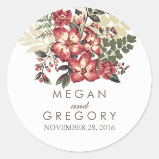 vintage Bourgondië bloeit huwelijk Ronde Sticker