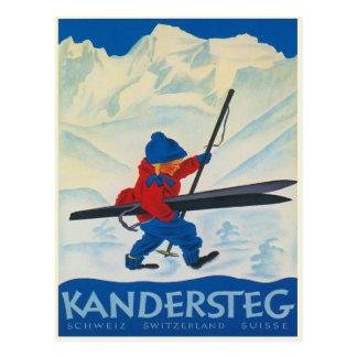 Vintage Briefkaart van de Zwitserse Alpen