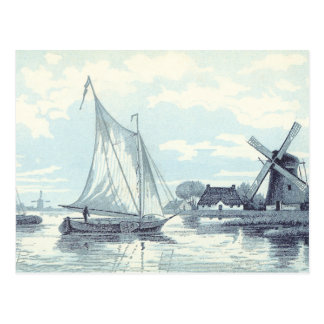 Vintage Briefkaart van een scène in Holland