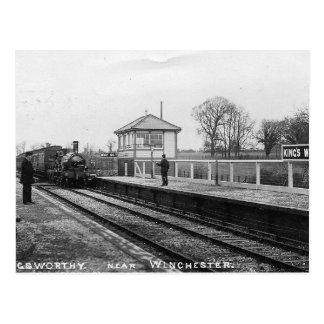 Vintage Briefkaart van het Station van de koning