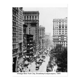 Vintage Broadway, de Stad 1904 van New York, Briefkaart