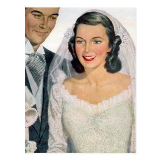 Vintage Bruid en Bruidegom Briefkaart