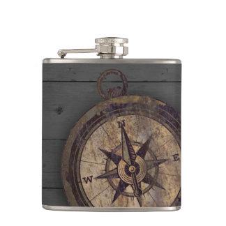 Vintage Bruin Kompas Heupfles