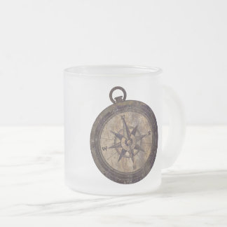 Vintage Bruin Kompas Matglas Koffiemok